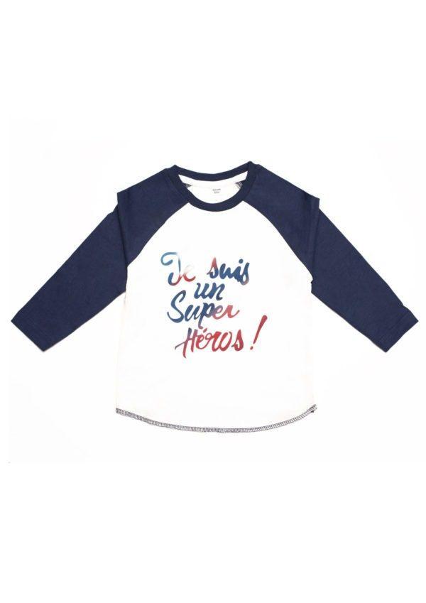 T-shirt à manches raglan bleu en coton bio, je suis un super héros