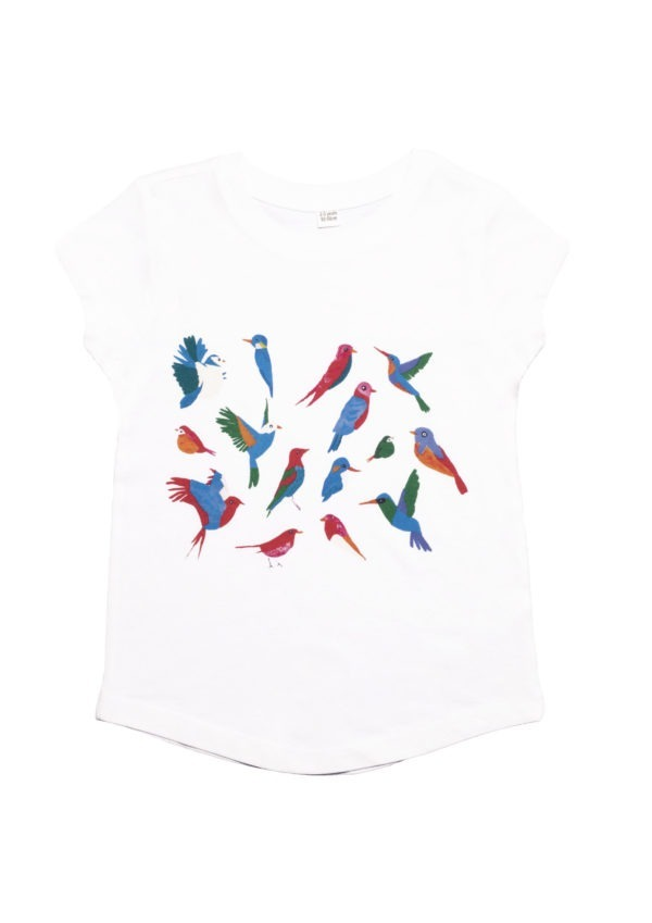 T-shirt en coton bio, manches courtes, à motif : oiseaux, kids