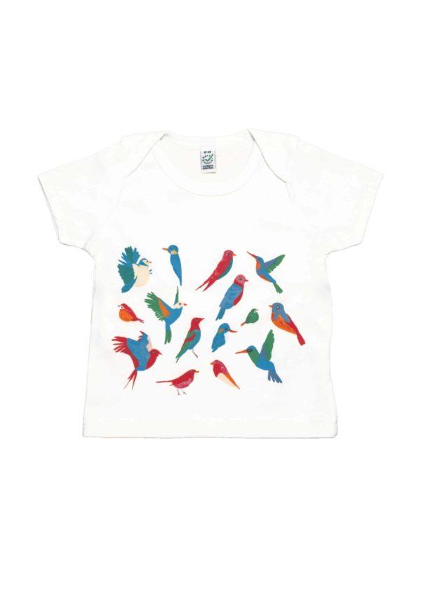 T-shirt en coton bio à motif Oiseaux multicolores