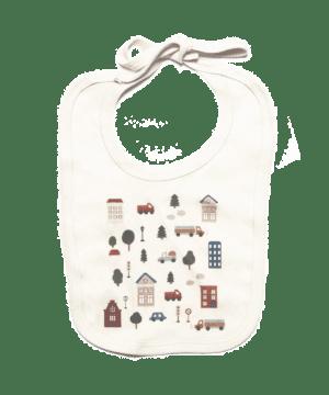 Bavoir coton bio motif ville
