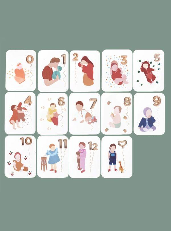 Cartes étapes première année de bébé