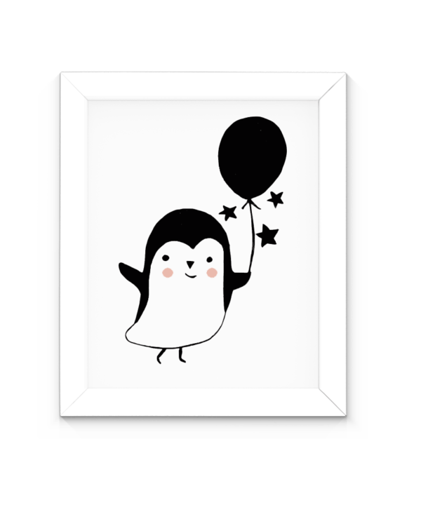 Affiche en noir et blanc pingouin