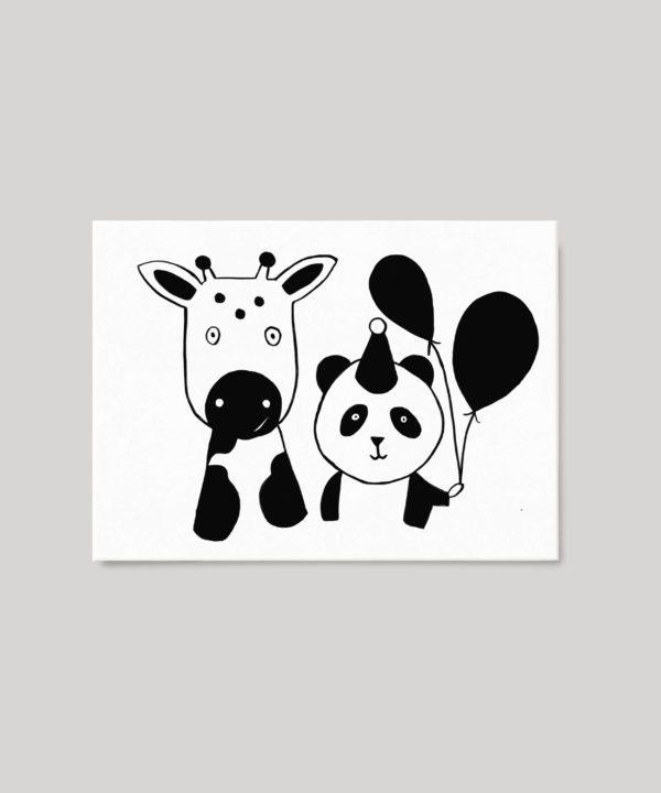 Carte postale bébé panda et veau
