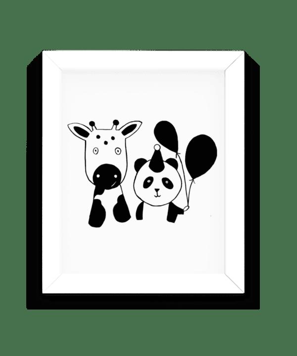 Affiche noir et blanc panda et vache minimaliste