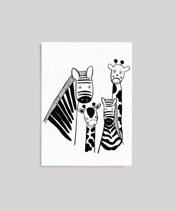 Carte Animaux en noir et blanc