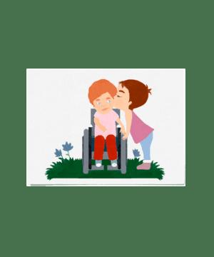 Carte postale petite fille embrassant un petit garçon handicapé
