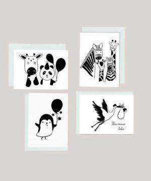 Lot de 4 cartes en noir et blanc