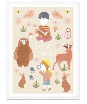 Affiche animaux de la forêt et enfants