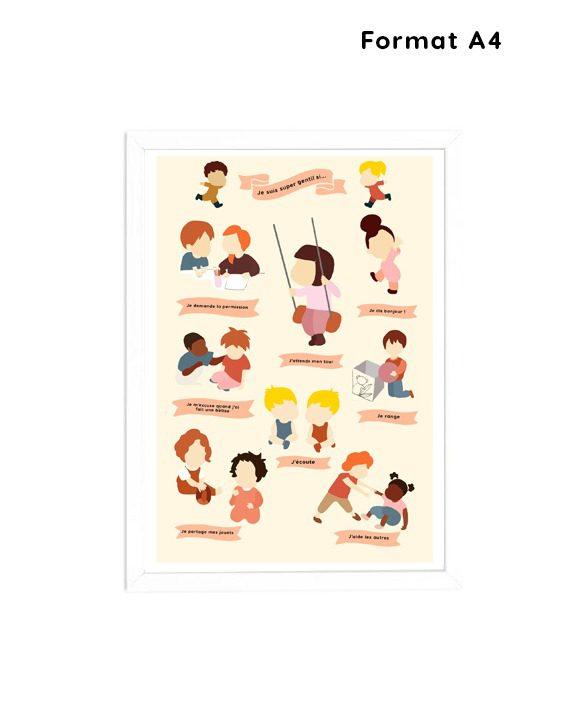 Affiche A4- chambre enfant-les règles de la gentillesse