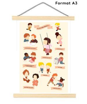 Affiche A3- chambre enfant-apprendre la tolérance aux enfants