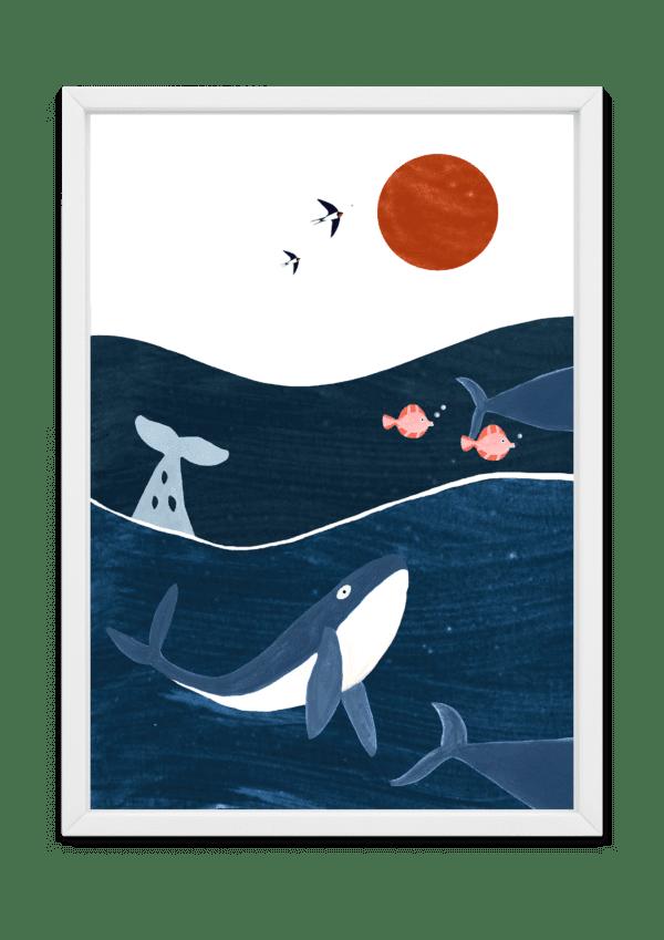 Affiche pour enfant océan et créatures marines