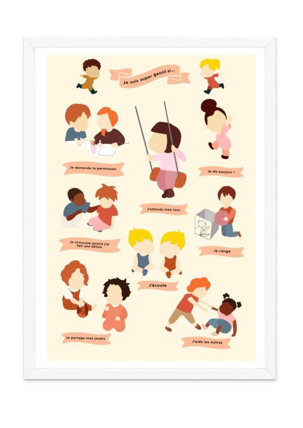 Affiche poster pour enfants, apprendre la gentillesse