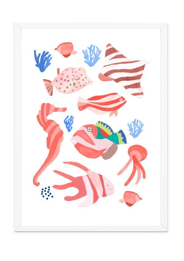 Affiche chambre enfants poissons style arty