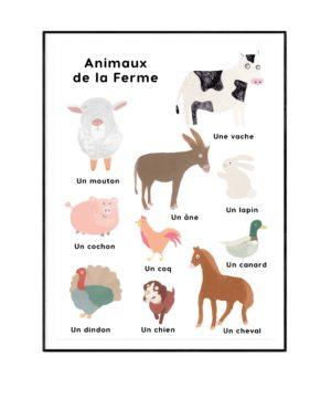 Affiche pour apprendre les animaux de la ferme