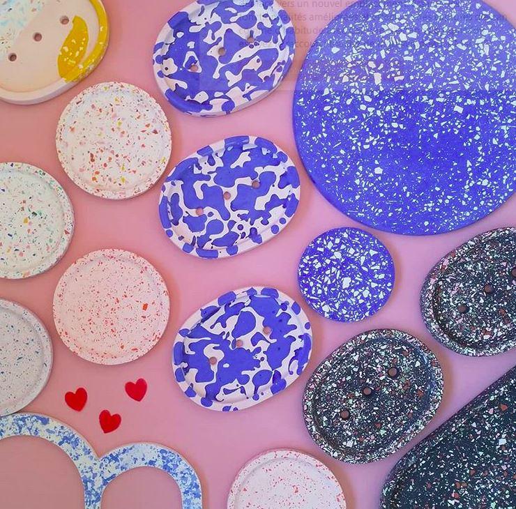 Dessous de verres coaster en Terrazzo multicolore centre de table