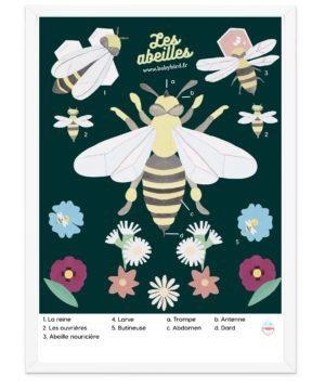 Affiche pédagigique vintage abeille