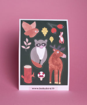 stickers-animaux-mignons-kawaii-animaux-forêt